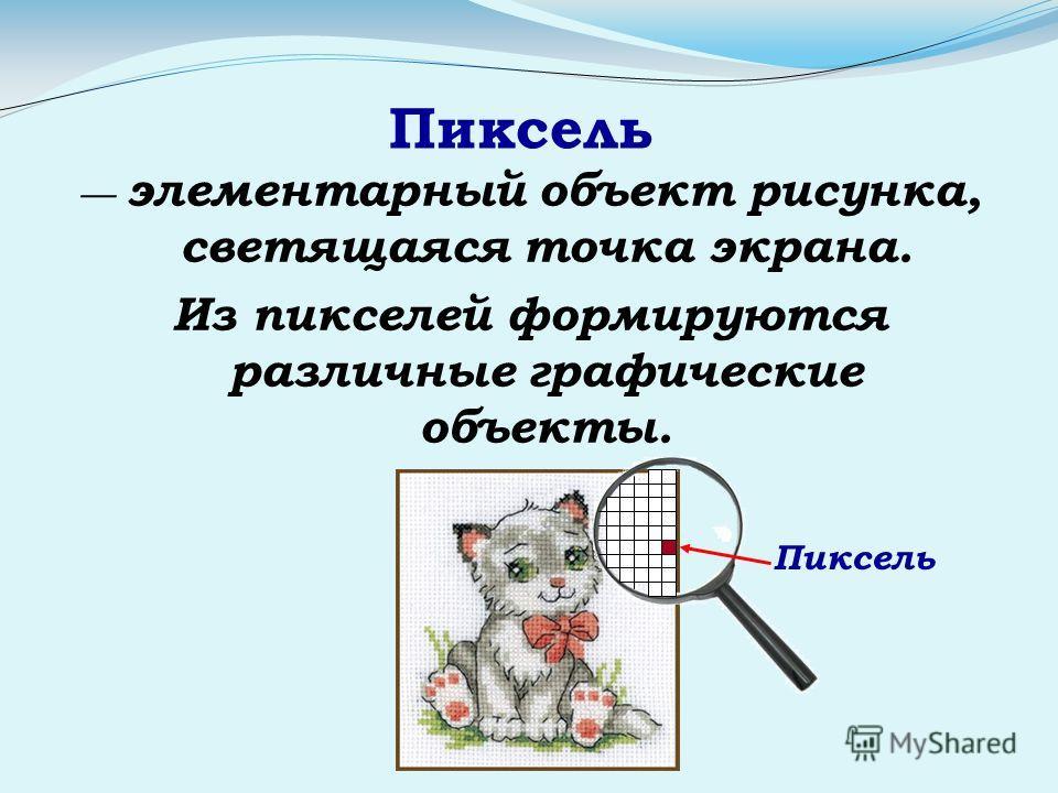 Пиксель элементарный объект рисунка, светящаяся точка экрана. Из пикселей формируются различные графические объекты. Пиксель