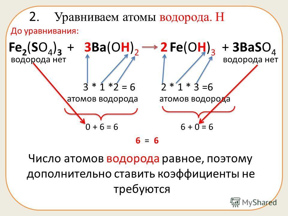 2. Уравниваем атомы водорода. Н Fe 2 (SO 4 ) 3 + 3Ba(OH) 2 2 Fe(OH) 3 + 3BaSO 4 До уравнивания: водорода нет 3 * 1 *2 = 6 2 * 1 * 3 =6 атомов водорода атомов водорода 0 + 6 = 6 6 + 0 = 6 Число атомов водорода равное, поэтому дополнительно ставить коэ