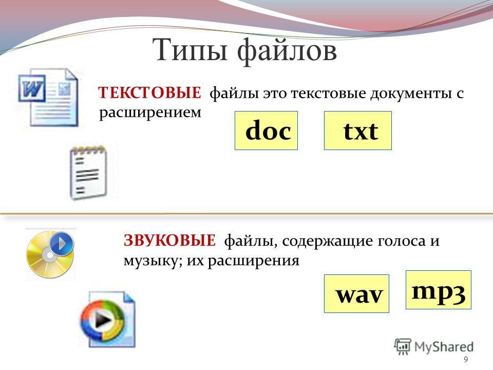 9 Типы файлов ТЕКСТОВЫЕ файлы это текстовые документы с расширением txt doc ЗВУКОВЫЕ файлы, содержащие голоса и музыку; их расширения wav mp3