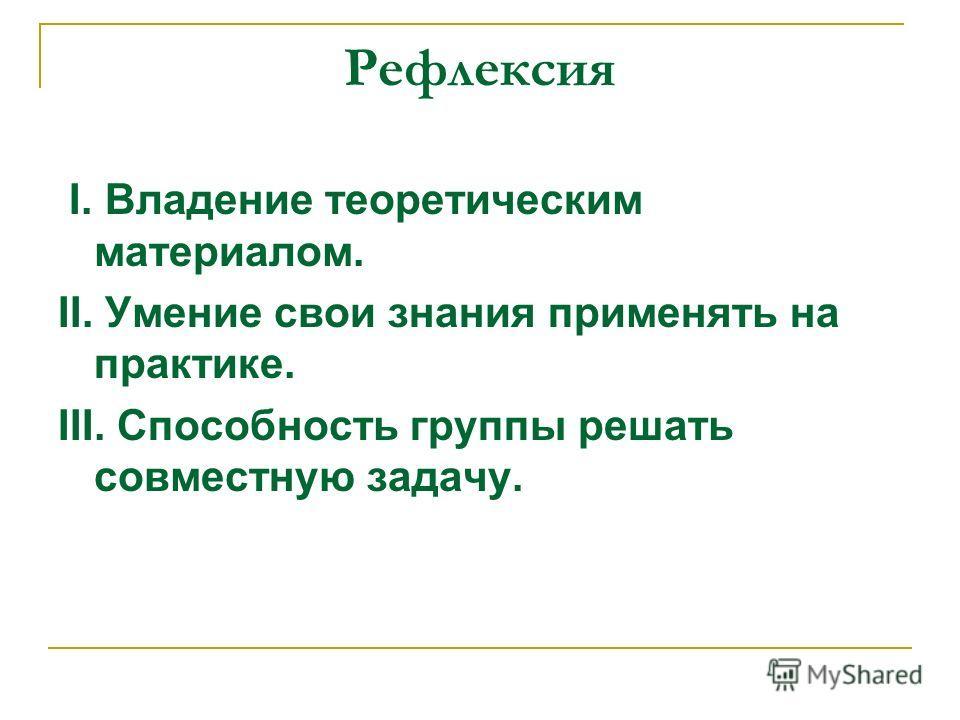 Рефлексия I. Владение теоретическим материалом. II. Умение свои знания применять на практике. III. Способность группы решать совместную задачу.