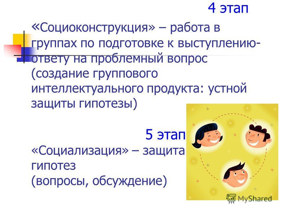 4 этап « Социоконструкция» – работа в группах по подготовке к выступлению- ответу на проблемный вопрос (создание группового интеллектуального продукта: устной защиты гипотезы) 5 этап «Социализация» – защита гипотез (вопросы, обсуждение)