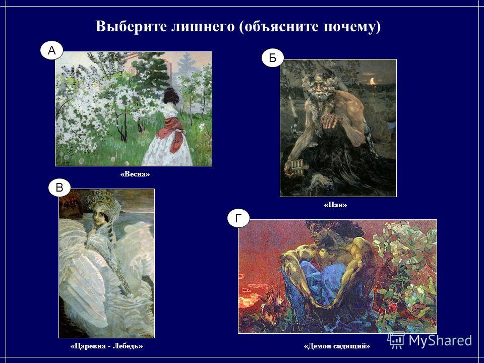 Выберите лишнего (объясните почему) «Пан» «Весна» «Демон сидящий»«Царевна - Лебедь» Б А Г В