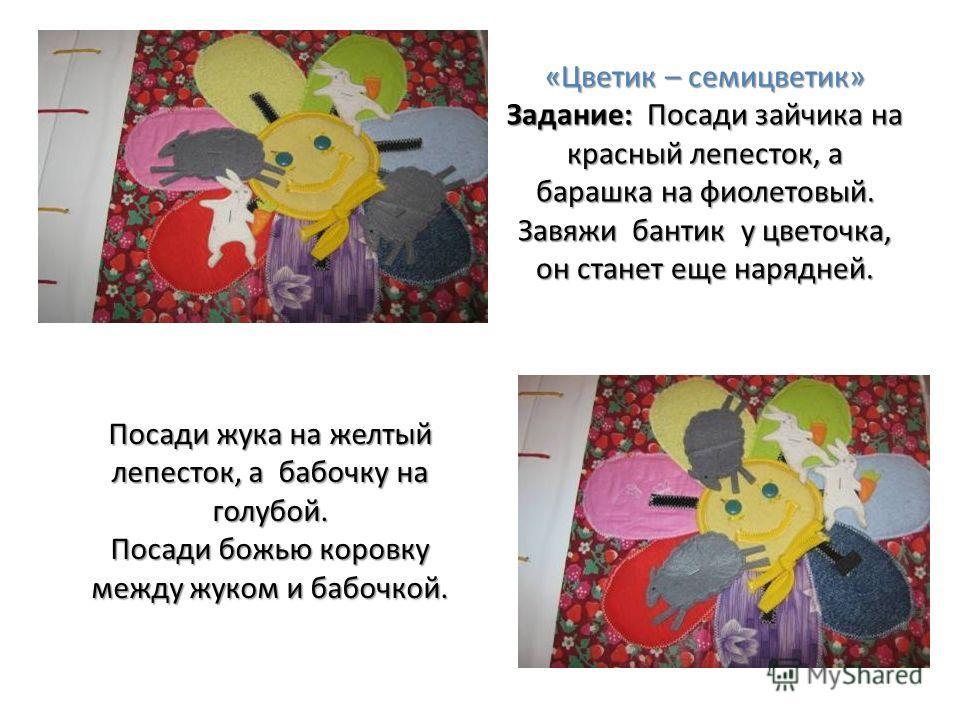 «Цветик – семицветик» Задание: Посади зайчика на красный лепесток, а барашка на фиолетовый. Завяжи бантик у цветочка, он станет еще нарядней. Посади жука на желтый лепесток, а бабочку на голубой. Посади божью коровку между жуком и бабочкой.