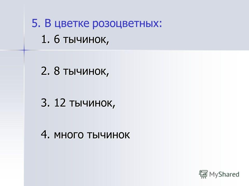 5. В цветке розоцветных: 1. 6 тычинок, 2. 8 тычинок, 3. 12 тычинок, 4. много тычинок