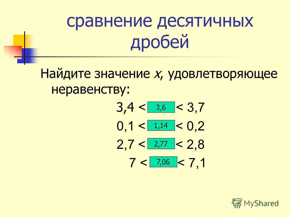 сравнение десятичных дробей Найдите значение х, удовлетворяющее неравенству: 3,4 < Х < 3,7 0,1 < Х < 0,2 2,7 < Х < 2,8 7 < Х < 7,1 3,6 1,14 2,77 7,06