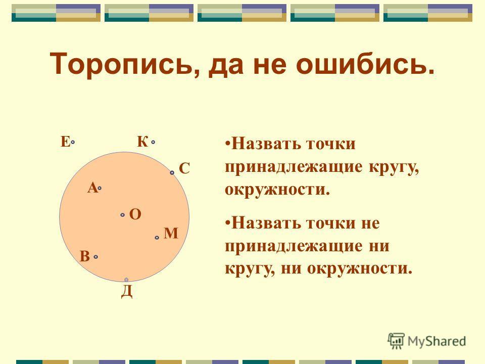 Торопись, да не ошибись. ЕК С А О М В Д Назвать точки принадлежащие кругу, окружности. Назвать точки не принадлежащие ни кругу, ни окружности.