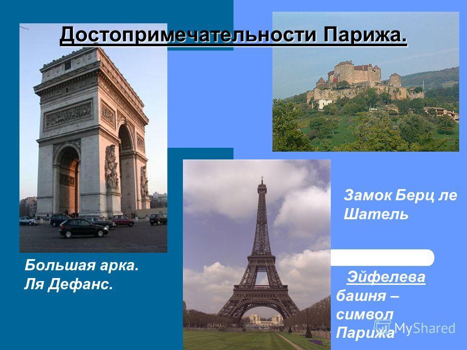 Эйфелева башня – символ Парижа Эйфелева Большая арка. Ля Дефанс. Замок Берц ле Шатель Достопримечательности Парижа.