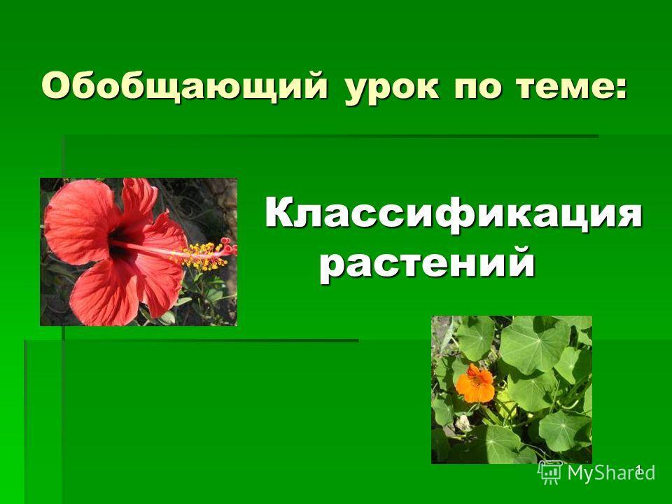 1 Обобщающий урок по теме: Классификация растений растений