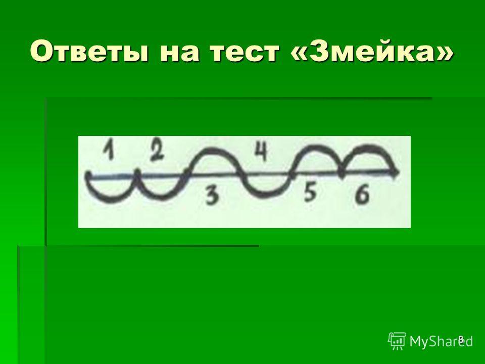 8 Ответы на тест «Змейка»