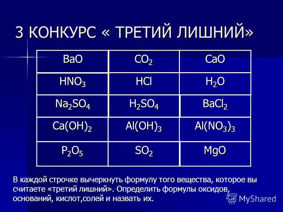 3 КОНКУРС « ТРЕТИЙ ЛИШНИЙ» CaO BaCl 2 В каждой строчке вычеркнуть формулу того вещества, которое вы считаете «третий лишний». Определить формулы оксидов, оснований, кислот,солей и назвать их. H2OH2OH2OH2O P2O5P2O5P2O5P2O5 Ca(OH) 2 Al(NO 3 ) 3 MgO CO