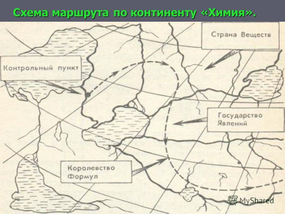 Схема маршрута по континенту «Химия».
