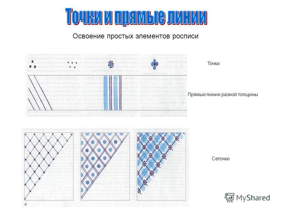 Освоение простых элементов росписи Прямые линии разной толщины Точки Сеточки