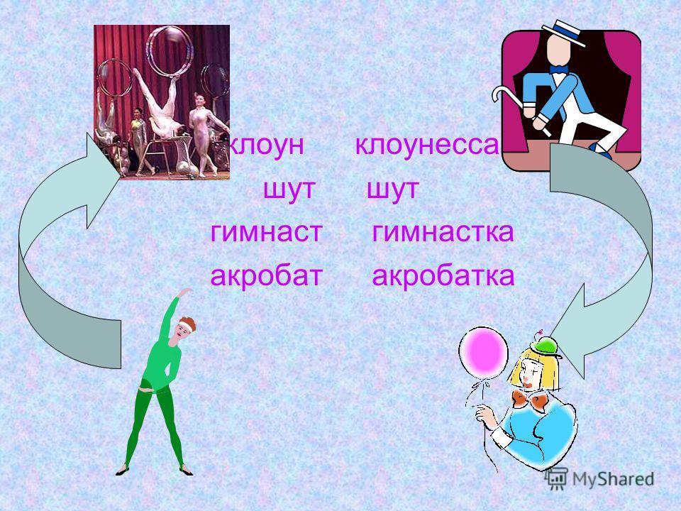 клоун клоунесса шут гимнастгимнастка акробатакробатка