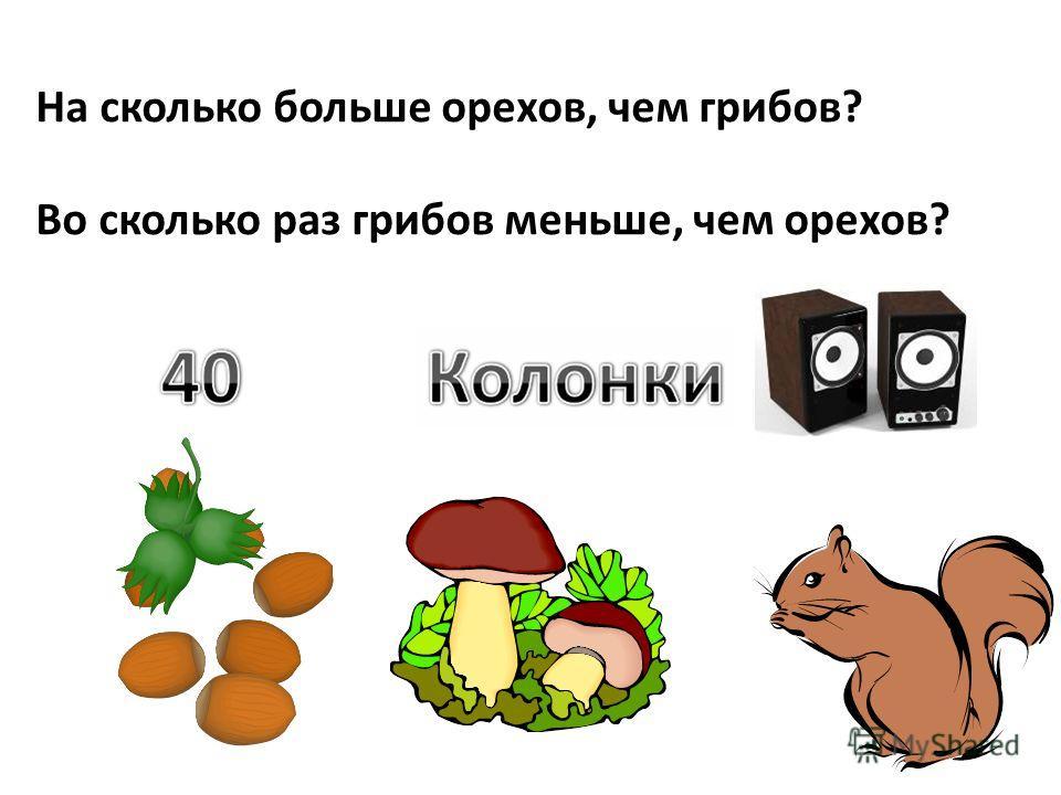 На сколько больше орехов, чем грибов? Во сколько раз грибов меньше, чем орехов?