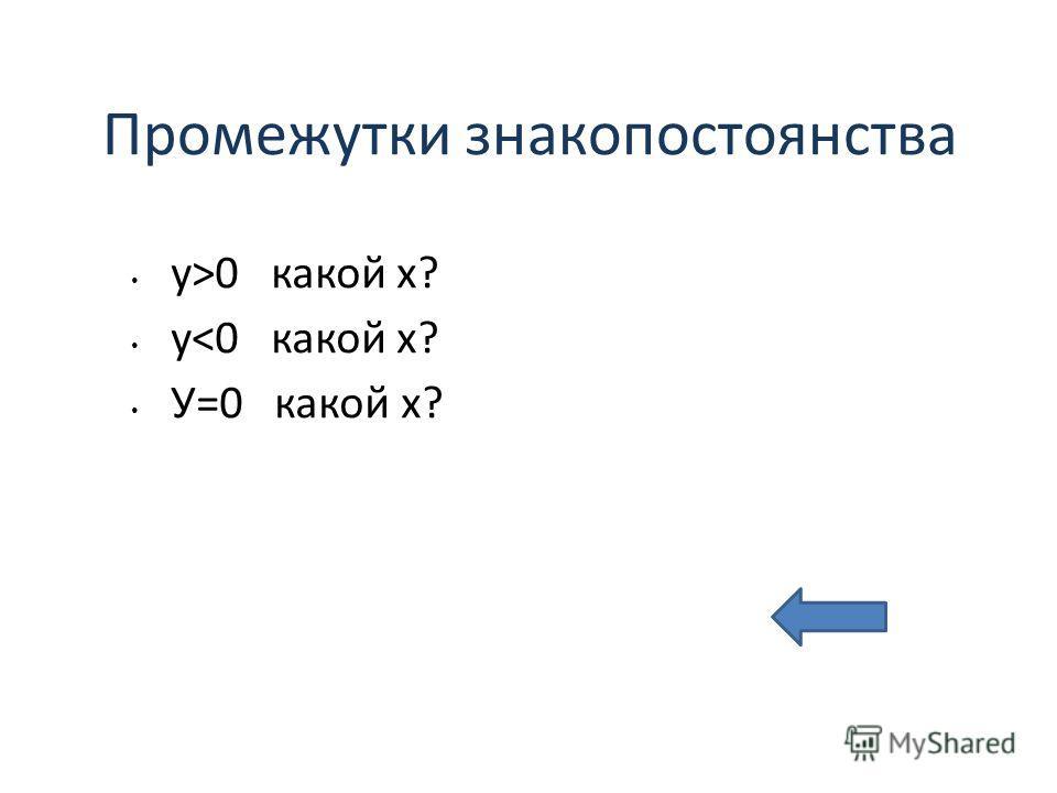 Промежутки знакопостоянства у>0 какой х? у
