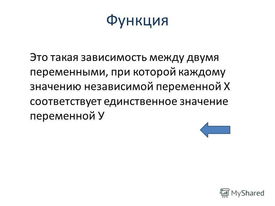 Функция Это такая зависимость между двумя переменными, при которой каждому значению независимой переменной Х соответствует единственное значение переменной У