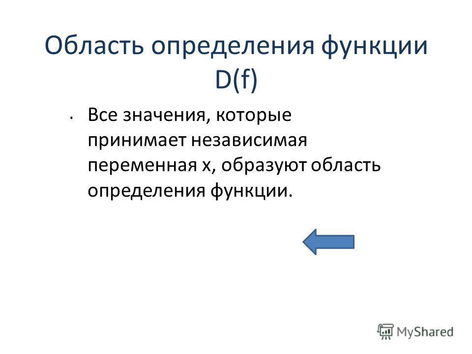 Область определения функции D(f) Все значения, которые принимает независимая переменная х, образуют область определения функции.