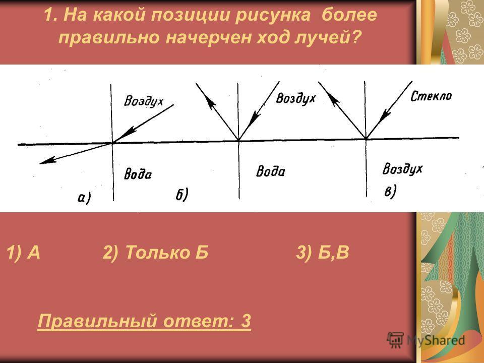 1. На какой позиции рисунка более правильно начерчен ход лучей? Правильный ответ: 3 1) А2) Только Б3) Б,В
