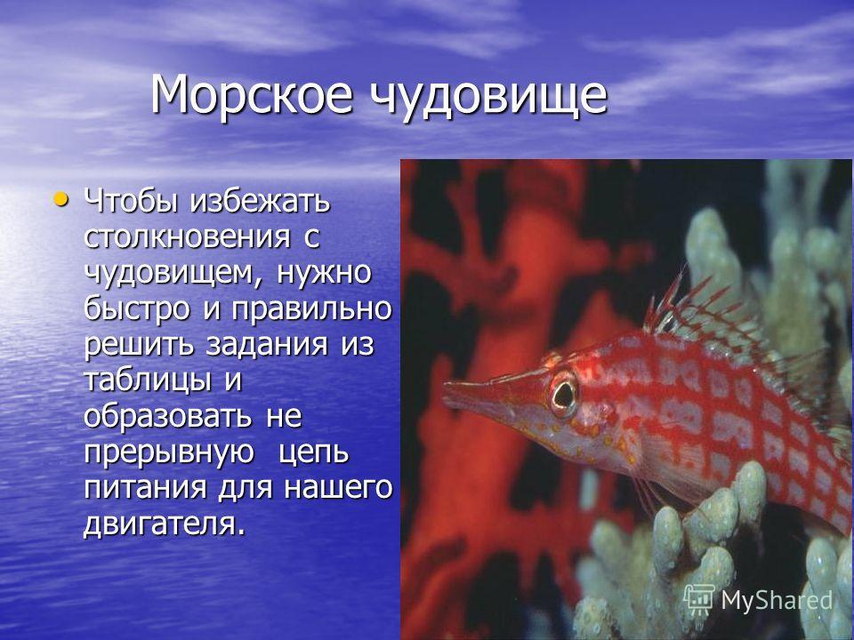 Морское чудовище Чтобы избежать столкновения с чудовищем, нужно быстро и правильно решить задания из таблицы и образовать не прерывную цепь питания для нашего двигателя.