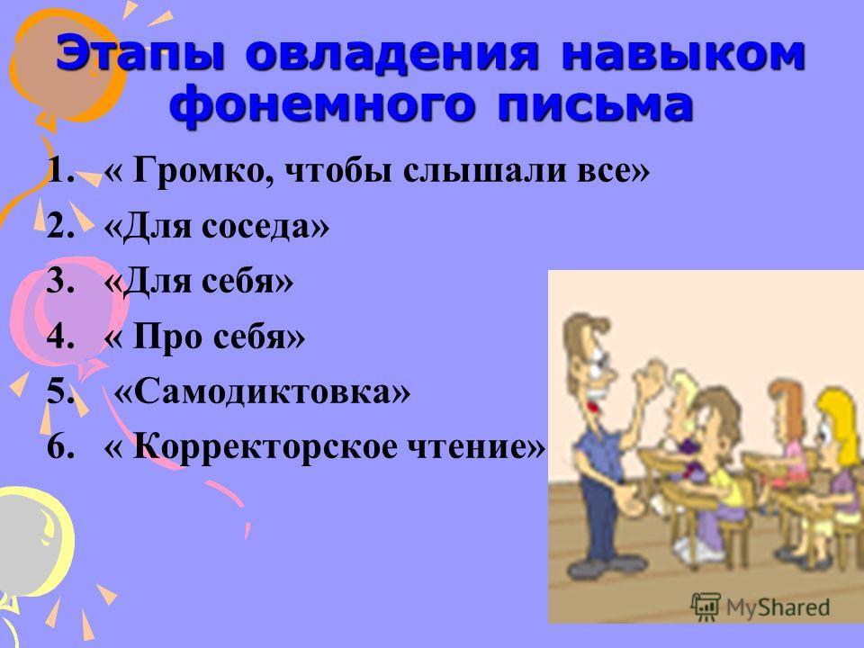 Этапы овладения навыком фонемного письма 1.« Громко, чтобы слышали все» 2.«Для соседа» 3.«Для себя» 4.« Про себя» 5. «Самодиктовка» 6.« Корректорское чтение»