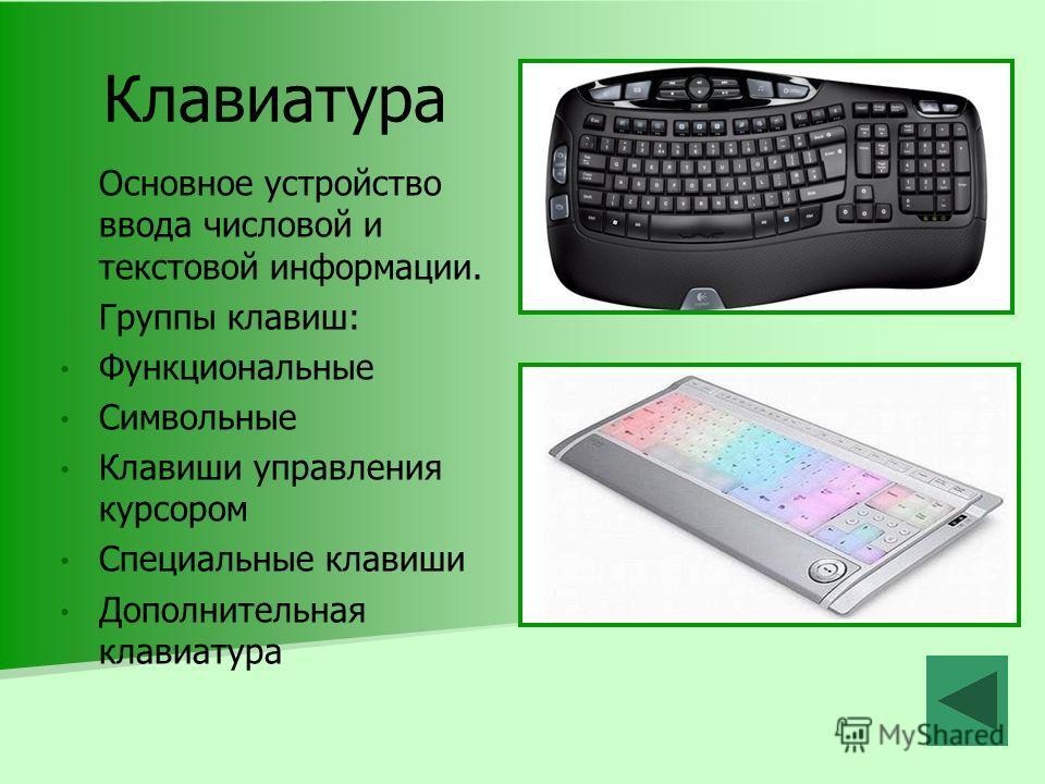 Клавиатура Основное устройство ввода числовой и текстовой информации. Группы клавиш: Функциональные Символьные Клавиши управления курсором Специальные клавиши Дополнительная клавиатура