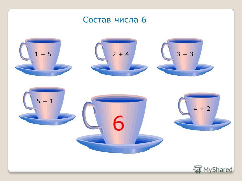 Состав числа 6 1 + 52 + 43 + 3 5 + 1 4 + 2 6