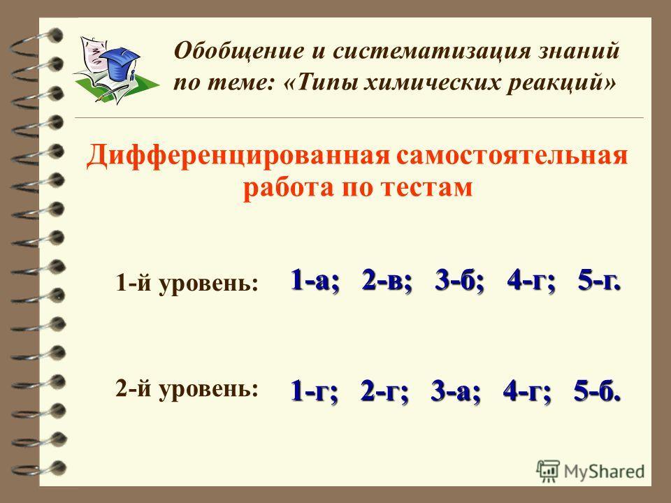 Дифференцированная самостоятельная работа по тестам Обобщение и систематизация знаний по теме: «Типы химических реакций» 1-й уровень: 1-а; 2-в; 3-б; 4-г; 5-г. 2-й уровень: 1-г; 2-г; 3-а; 4-г; 5-б.