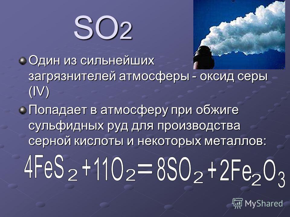 SO 2 Один из сильнейших загрязнителей атмосферы - оксид серы (IV) Попадает в атмосферу при обжиге сульфидных руд для производства серной кислоты и некоторых металлов: