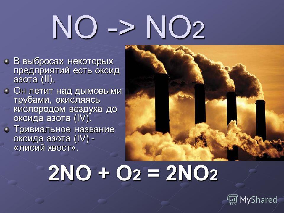 NO -> NO 2 В выбросах некоторых предприятий есть оксид азота (II). Он летит над дымовыми трубами, окисляясь кислородом воздуха до оксида азота (IV). Тривиальное название оксида азота (IV) - «лисий хвост». 2NO + O 2 = 2NO 2