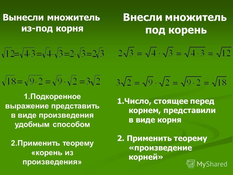 1.Подкоренное выражение представить в виде произведения удобным способом 2.Применить теорему «корень из произведения» Вынесли множитель из-под корня Внесли множитель под корень 1.Число, стоящее перед корнем, представили в виде корня 2. Применить теор