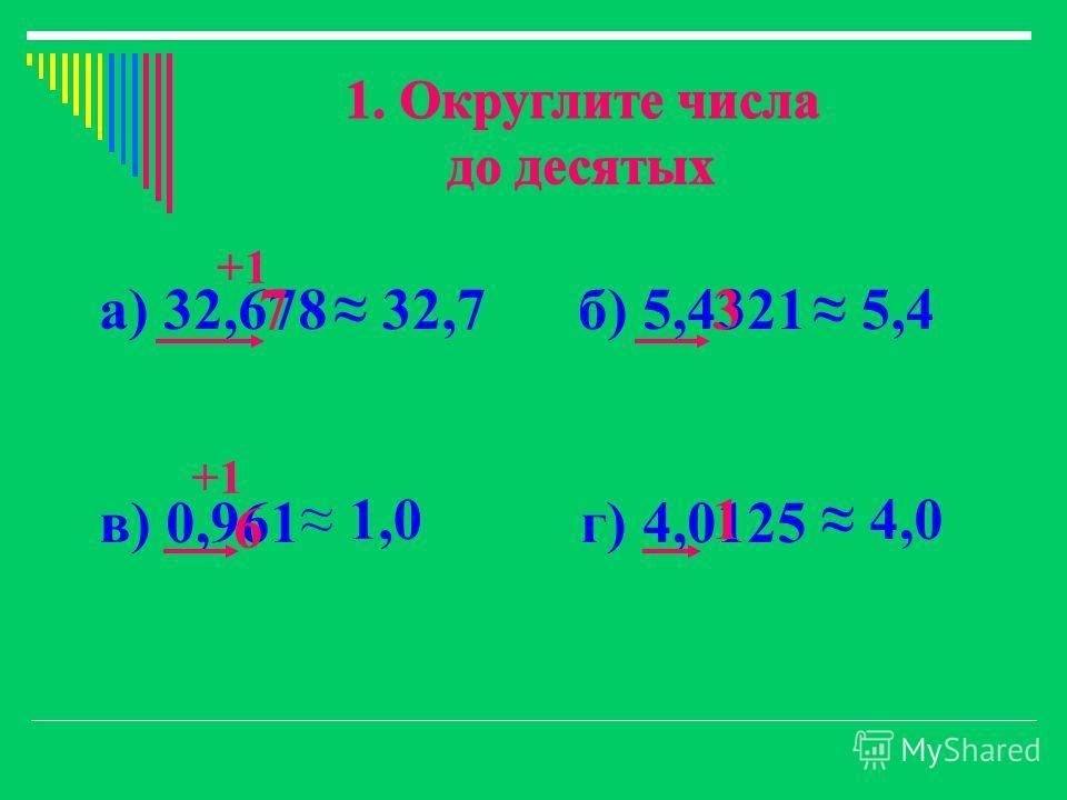 а) 32,678 б) 5,4321 в) 0,961 г) 4,0125 3 6 1 7 +1 32,7 1,0 5,4 4,0