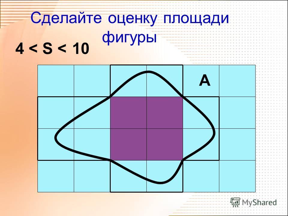 Тема урока Оценка площади Цель урока Построить алгоритм оценки площади