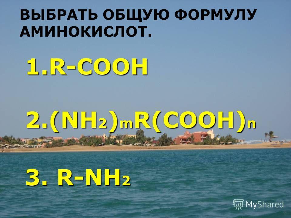RCOOH RCOOH (NH2)mR(COOH)n (NH2)mR(COOH)n RNH 2 RNH 2 1.R -COOH 2.(NH2)mR(COOH)n 3. R-NH2 ВЫБРАТЬ ОБЩУЮ ФОРМУЛУ АМИНОКИСЛОТ.