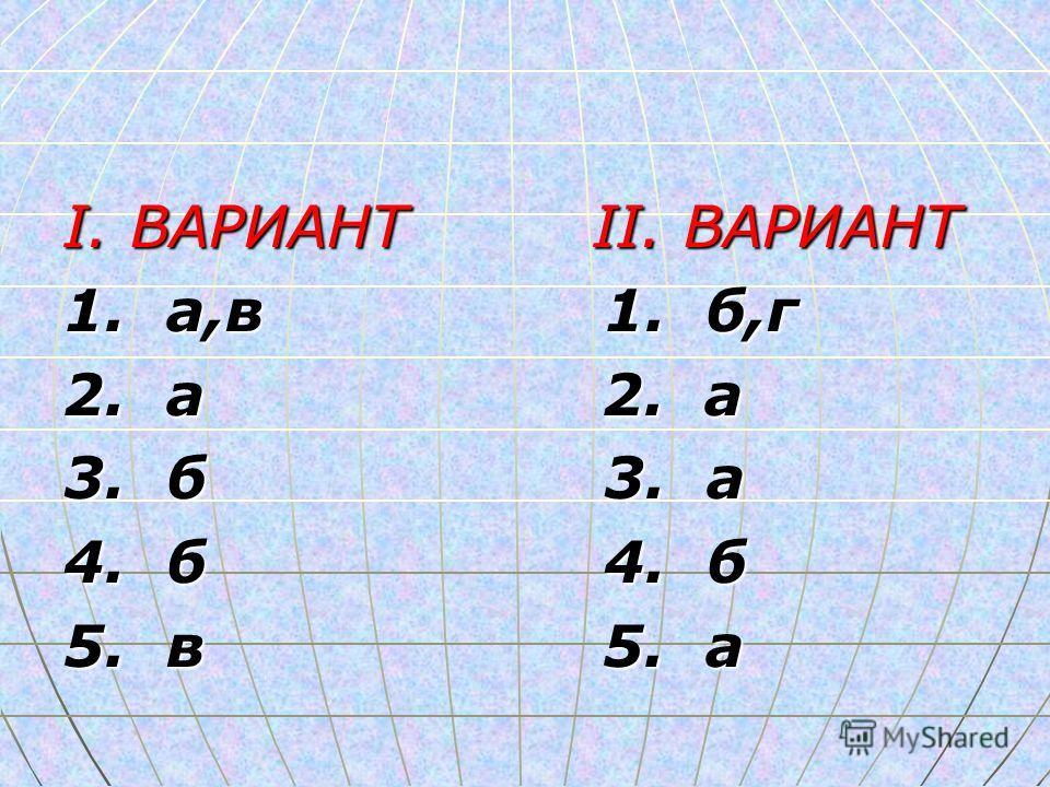 I. ВАРИАНТ II. ВАРИАНТ 1. а,в 1. б,г 2. а 2. а 3. б 3. а 4. б 4. б 5. в 5. а