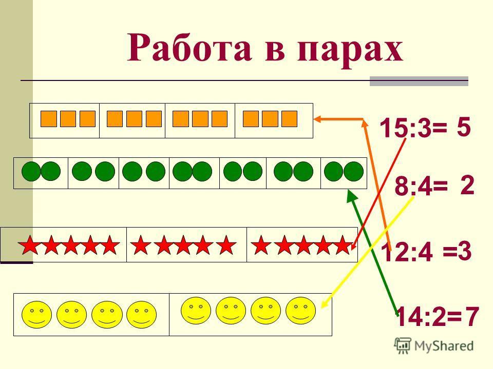 Работа в парах 12:4 = 3 14:2=7 15:3= 5 8:4= 2
