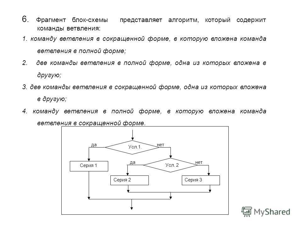 6. Фрагмент блок-схемы представляет алгоритм, который содержит команды ветвления: 1. команду ветвления в сокращенной форме, в которую вложена команда ветвления в полной форме; 2. две команды ветвления в полной форме, одна из которых вложена в другую;