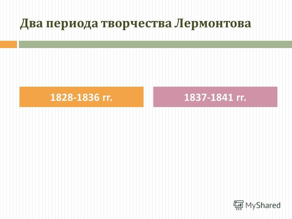 Два периода творчества Лермонтова 1828-1836 гг.1837-1841 гг.