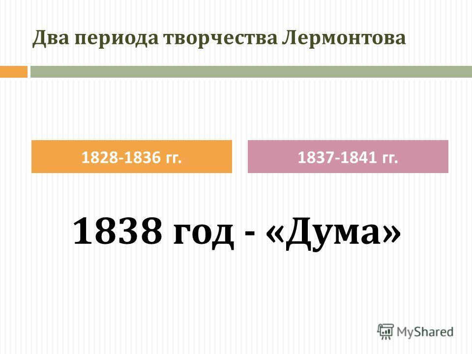 Два периода творчества Лермонтова 1838 год - «Дума» 1828-1836 гг.1837-1841 гг.