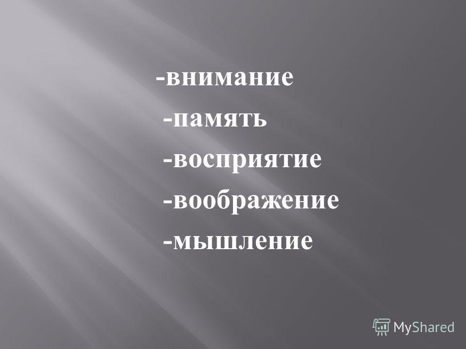 - внимание - память - восприятие - воображение - мышление