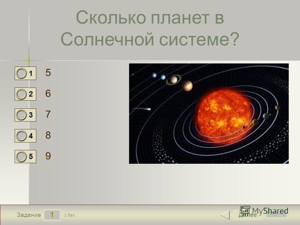 1 Задание Сколько планет в Солнечной системе? 5 6 7 8 Далее 9 1 бал. 1 0 2 0 3 0 4 0 5 0