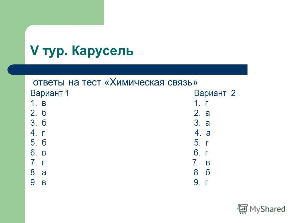 V тур. Карусель ответы на тест «Химическая связь» Вариант 1 Вариант 2 1. в 1. г 2. б 2. а 3. б 3. а 4. г 4. а 5. б 5. г 6. в 6. г 7. г 7. в 8. а 8. б 9. в 9. г
