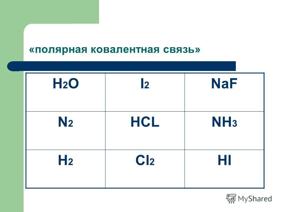 «полярная ковалентная связь» H2OH2OI2I2 NaF N2N2 HCLNH 3 H2H2 Cl 2 HI