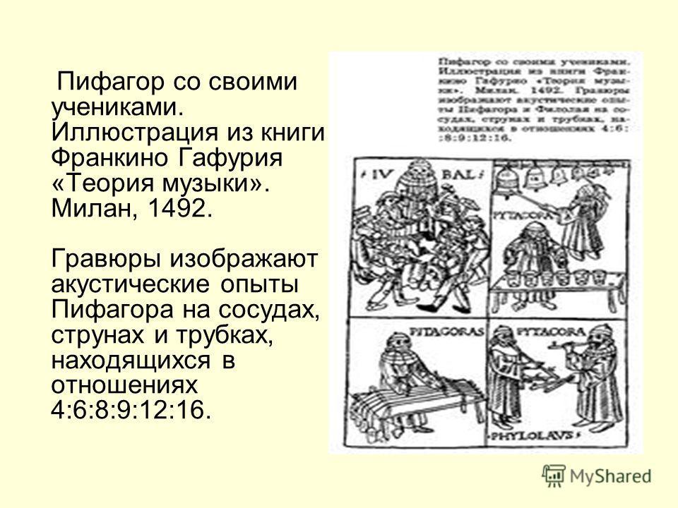 Пифагор со своими учениками. Иллюстрация из книги Франкино Гафурия «Теория музыки». Милан, 1492. Гравюры изображают акустические опыты Пифагора на сосудах, струнах и трубках, находящихся в отношениях 4:6:8:9:12:16.