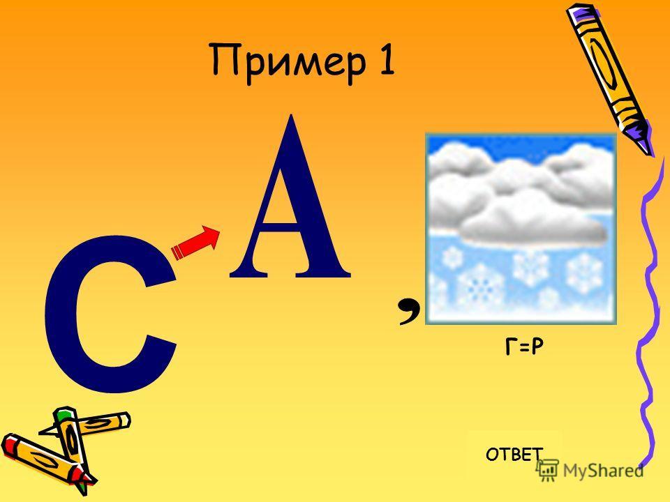 Пример 1 ОТВЕТ Г=Р