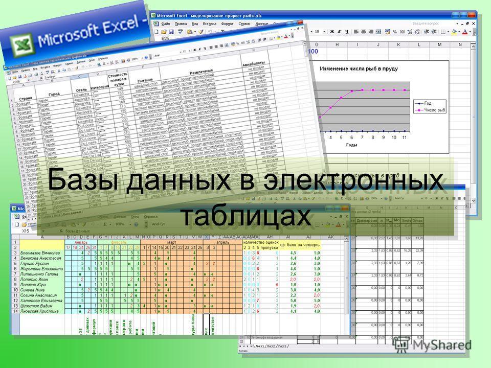 Базы данных в электронных таблицах