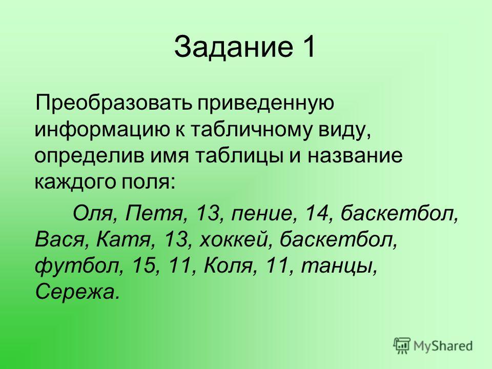 Задание 1 Преобразовать приведенную информацию к табличному виду, определив имя таблицы и название каждого поля: Оля, Петя, 13, пение, 14, баскетбол, Вася, Катя, 13, хоккей, баскетбол, футбол, 15, 11, Коля, 11, танцы, Сережа.