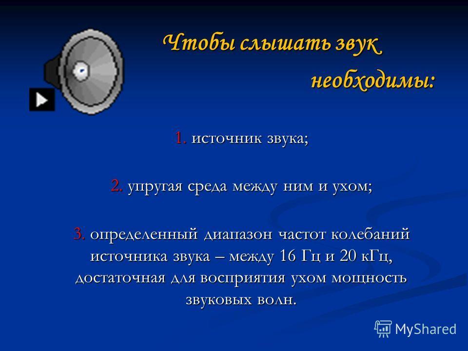 Чтобы слышать звук Чтобы слышать звук необходимы: необходимы: 1. источник звука; 2. упругая среда между ним и ухом; 3. определенный диапазон частот колебаний источника звука – между 16 Гц и 20 кГц, достаточная для восприятия ухом мощность звуковых во