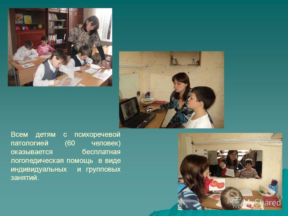 Всем детям с психоречевой патологией (60 человек) оказывается бесплатная логопедическая помощь в виде индивидуальных и групповых занятий.