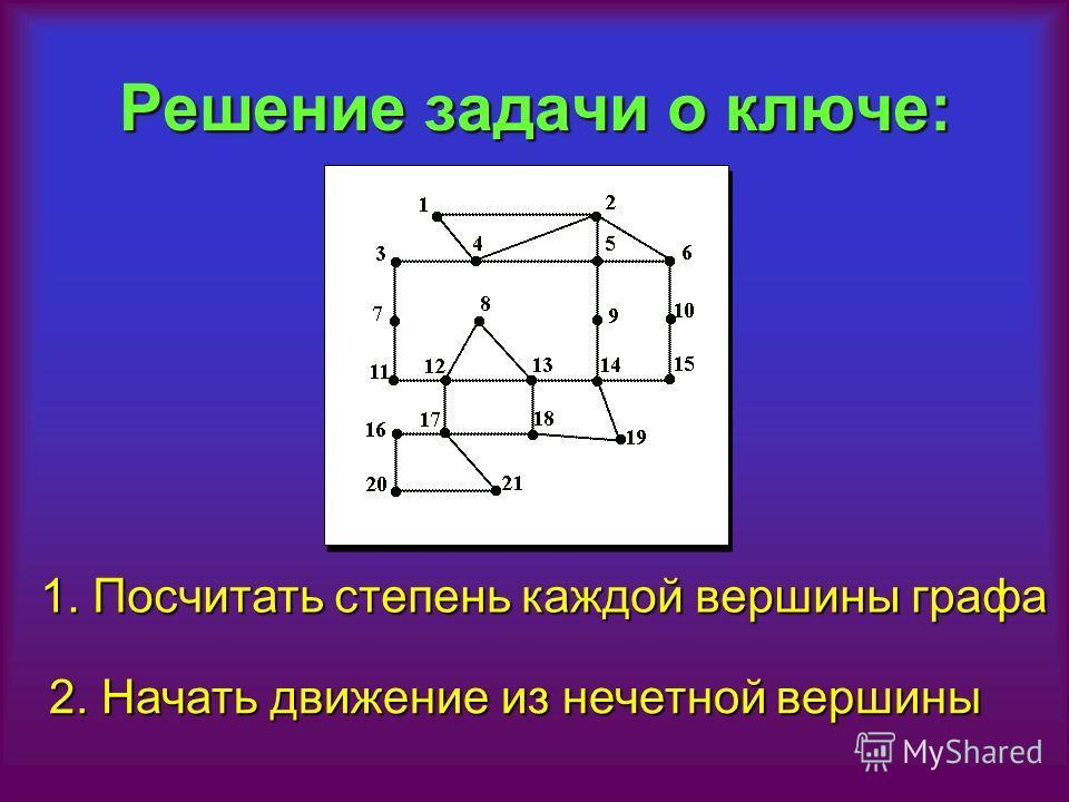 Решение задачи о ключе: 1. Посчитать степень каждой вершины графа 2. Начать движение из нечетной вершины