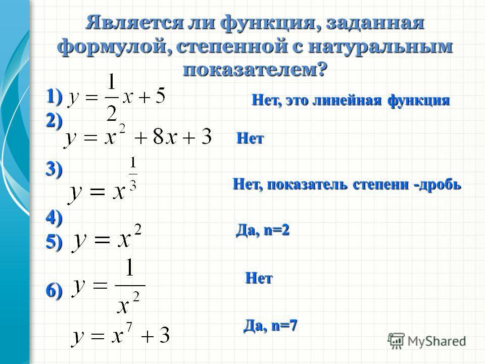 1)2)3)4)5)6) Является ли функция, заданная формулой, степенной с натуральным показателем? Нет, это линейная функция Нет Нет, показатель степени -дробь Да, n=2 Нет Да, n=7